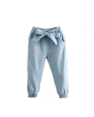 2017 spring girls' blue bow bloomers jeans