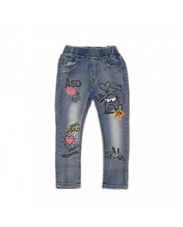2017 spring girls graffiti printed jeans