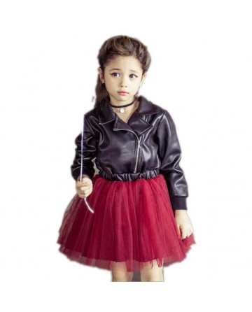 2017 New girls sequins leather jacket dress sets